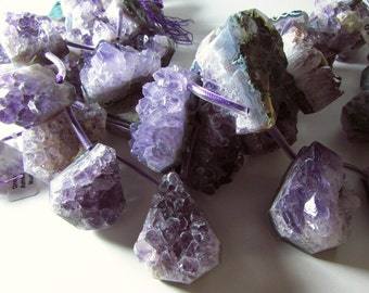 Amethyst Druzy Crystal Cluster Geode Pendent Briolette Beads Graduating Strand 24mm  -  60mm Mix Sizes