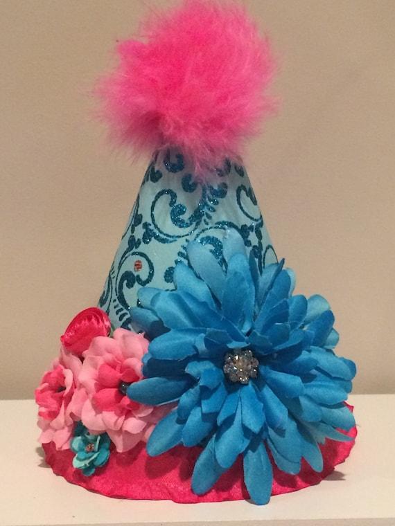 girls hot pink  fairytale birthday hat, photo prop, special occasion, first birthday hat, toddler birthday hat
