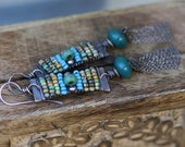 Rustic Boho Alegria,Alegria Series earrings n.96 - wire wrapped jewelry . mixed beads . metalwork in handmade . beaded jewelry . ethnic
