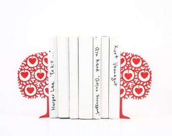 Decorative Metal Bookends - Danish heart tree- Scandinavia inspired functional decor // FREE WORLDWIDE SHIPPING // Danish nursery theme //