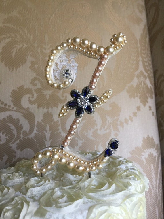 pearl initial wedding cake toppers items similar to custom monogram pearl wedding cake 18165