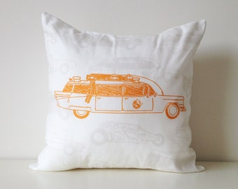 """Ecto-1, Ghostbusters Car Pillow, 16x16"""", TV and Movie Cars, Guys Decor, Man Cave, Contemporary, Guy Gifts, For Him, Modern Man Pillow Cover"""