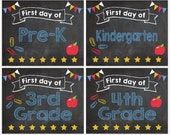 First Day of School sign INSTANT DOWNLOAD printable digital 1st Day of kindergarten preschool pre k K-12 chalkboard Chalk Board
