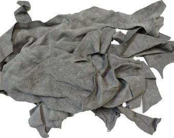 Grey Leather Suede Scrap Bag - 2LB #13-220