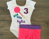 Candy Lollipop Gymnastics Birthday Outfit Neon Pink and Purple