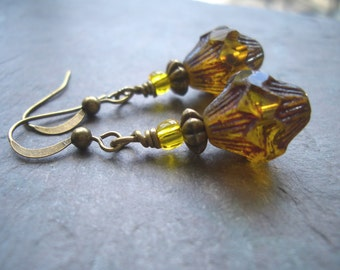 """Amber Czech Glass Earrings / Picasso / Gold / Bicone / Drop / Seed Bead/ Dangle / Antique - 1 3/4"""" long - E34"""