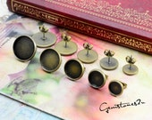 30pcs Antique Bronze 8mm / 10mm / 12mm / 14mm  / 16mm Brass Earring Posts With Round Pad
