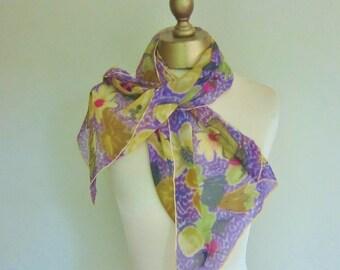 1950s silk CHIFFON scarf, floral scarf, hand printed, hand rolled, oblong chiffon scarf, genuine vintage scarf