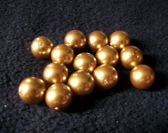 12mm Glass Smooth Round Gold Pearl x 14