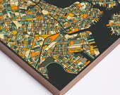 BOSTON MAP, Modern Wall Art for the Home Decor, Ready to hang Wood Print
