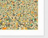 MILAN Map, Giclee Fine Art Print, Modern Wall Art for the Home Decor