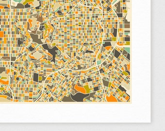 SAN FRANCISCO Map, Giclee Fine Art Print, Modern Wall Art for the Home Decor