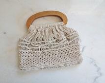SALE / was 16.00 / 70s macrame purse wooden handles