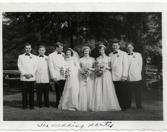 Old Photo Bride and Groom Bridesmaids Groomsmen Wedding Party 1940s Photograph snapshot vintage