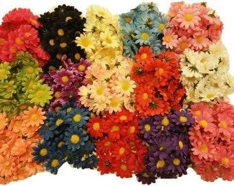 "50pcs. Mix Mini Daisy Flower Heads-1.5""-Crafts, Hair Clips, etc.-Wholesale LOT!!"