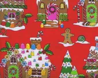 Fat Quarter Gingerbread Houses 100% Cotton Quilting Fabric Christmas Red