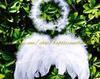 Infant to Child Size Angel Wings and Halo Headband Set - Infant Halloween Costume - Infant Headbands - Infant Costume - NEXT DAY SHIPPING