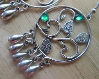 SALE Silver tone Chandelier Earrings with Silver Teardrop Dangles and Green Rhinestones