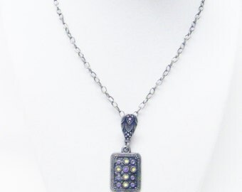 Square Decorative Antique Silver Plated Charm Necklace