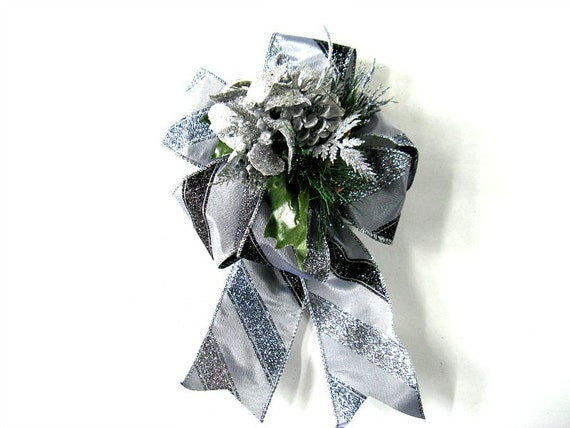 Black and silver glitter christmas holiday bow by - Black and silver christmas ...