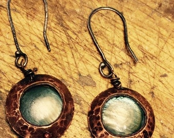 Copper pipe earrings with vintage shell beads and sterling ear wires
