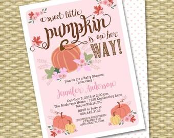 Little Pumpkin Fall Baby Shower Invitation Baby Girl Baby Shower Invitations Fall Leaves Pink Peach Pumpkin Floral