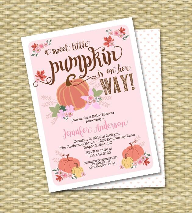 little pumpkin fall baby shower invitation baby girl baby