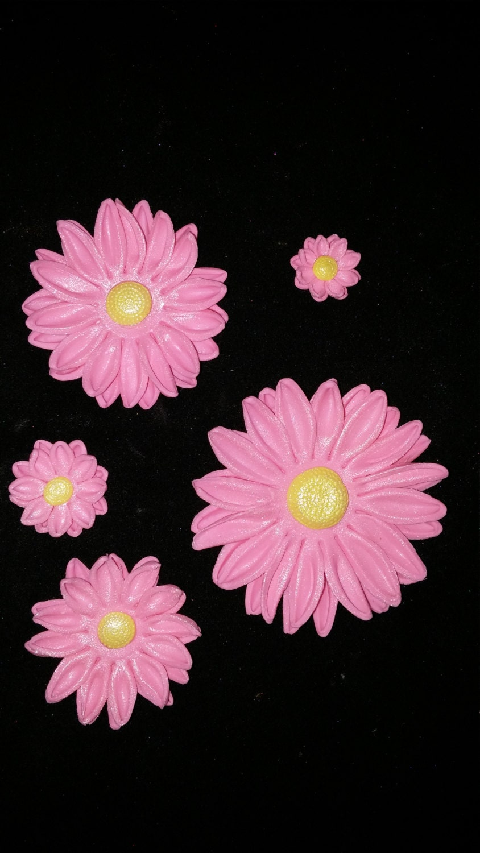36 Edible Daisy Daisies Gum Paste Variety Size Fondant Flowers