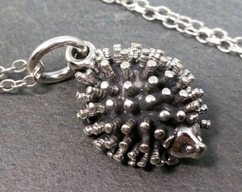 Hedgehog Necklace - 925 Sterling Silver - Hedgehog Pendant Charm Jewelry NEW