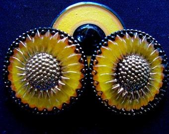 Czech  Glass  Buttons  3 pcs   Gorgeous    32mm  IVA 049