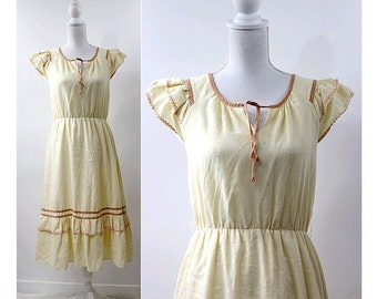 70s yellow summer DRESS  small