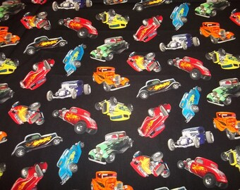 "HOT ROD CARS     "" Multi colors  ""  pattern  1/2 Yard - 100% Cotton Very Cute"