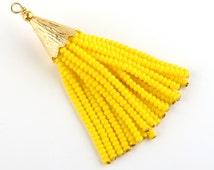 Yellow, Short Seed Bead Tassel, Boho Tassel, Beaded Tassel, 1 pc,52-58 mm // TAS-081