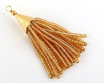 Gold, Short Seed Bead Tassel, Boho Tassel, Beaded Tassel, 1 pc, 52-58 mm// TAS-081