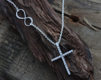 CZ Sterling silver Cross Necklace, Sterling Infinity necklace. Cross Necklace. Confirmation, Sympathy, First Communion Gift.  By MonyArt