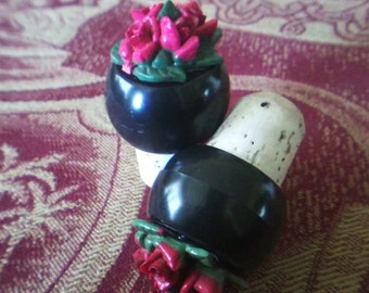 Red Rose Cork Bottle Stopper