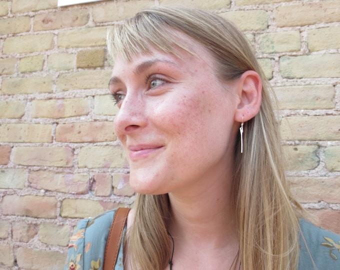 Bar Earrings - Hammered Earrings - Silver Earrings - Textured Earrings - Boho Earrings - Modern Earrings - Dangle Earrings - Boho Jewelry