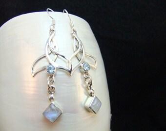 Blue Topaz  & Moonstone Silver Drop Earrings,