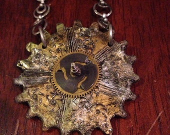 Steampunk Necklace, Gears, watch, metallic jewelry, Cyber Punk, StateMent Necklace