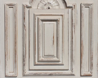 French vintage wood panel from armoire, beautiful patina and design
