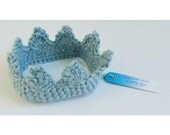 Grey blue crochet crown // baby boy newborn photography little prince crown // hypoallergenic various sizes boys head accessory crown hat