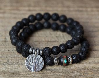 Tree of Life Bracelet, Beaded Bracelet, Mens Bracelet, Jewelry for Men, Lava Rock Bracelet, Tree of Life Charm, Mala Bracelet, For Him