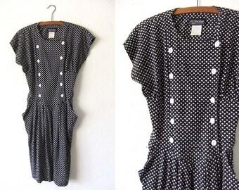All That Jazz 90s Polka Dot Sailor Dress - Mod Style Minimal Patterned Flowy Midi Dress - Womens Medium