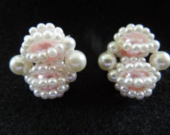Vintage Clip Earrings, signed Japan.  Pink and White Faux Pearls, Pretty