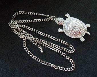 Vintage Turtle Necklace, Aurora Borealis Rhinestones.  Large Turtle, 28 Inch Necklace. Excellent Condition