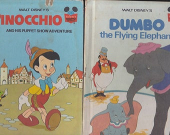 CRAFTERS PACK - Pinocchio - Dumbo - Go, Dog, Go - Duck Tales - Four Vintage Story Books for Crafts - Walt Disney Books - P D Eastman