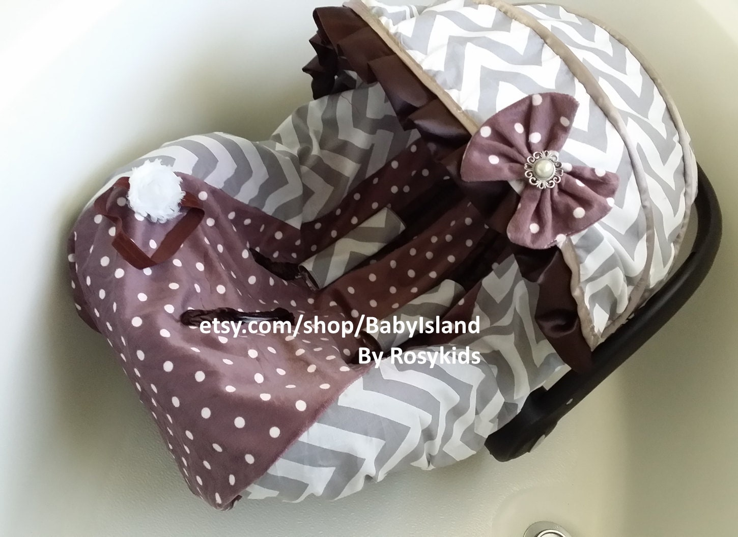 Polka Dots Infant Car Seat Cover Canopy Baby Car Seat Cover
