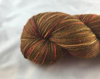 Fall: variegated yarn, brown sock yarn, hand dyed sock yarn, red orange yellow, fall, merino silk yarn