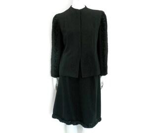 1940s Persian Lamb and Black Wool Suit