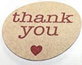 25 Round THANK YOU labels with little red heart - kraft brown Thank You stickers - thank you cards, with thanks, thanks